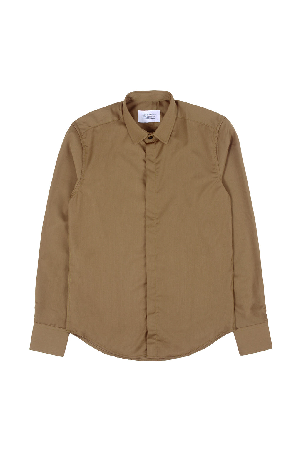 SLIM-FIT EXECUTIVE HIDDEN BUTTON SHIRT | CAMEL - 66