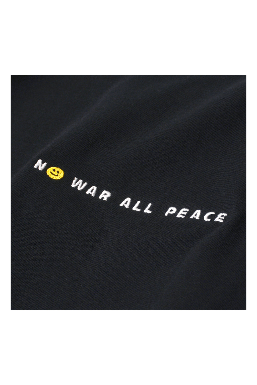 'NO WAR ALL PEACE' EMBROIDERED TEE | BLACK - 778