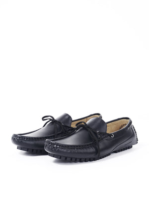LEATHER LOAFER SHOES WITH BOW | BLACK - 367