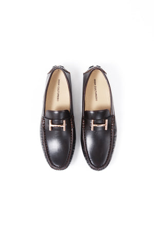 LEATHER LOAFER SHOES | BLACK - 370