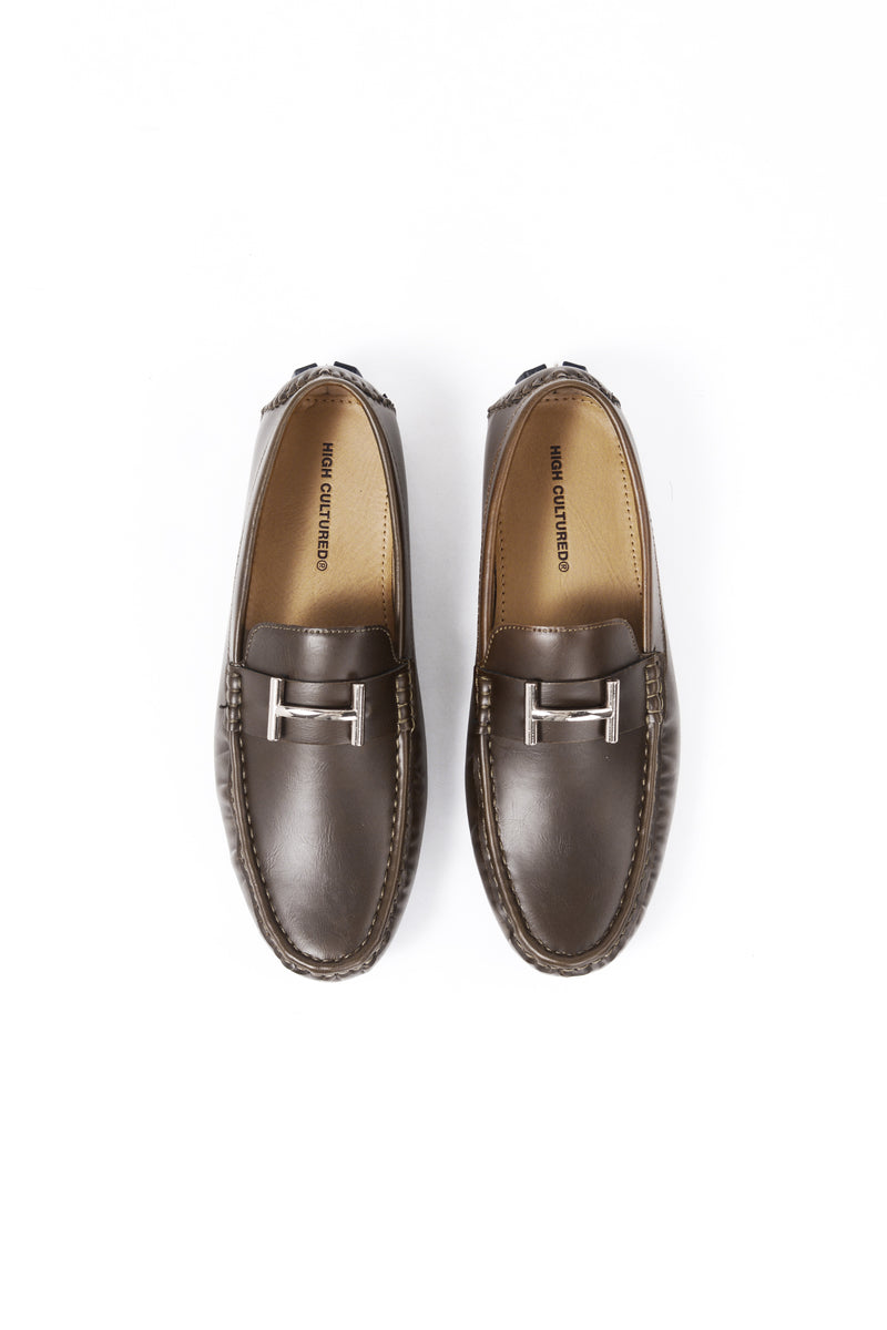 LEATHER LOAFER SHOES | BROWN - 370