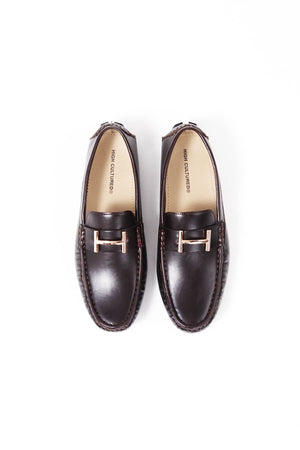 LEATHER LOAFER SHOES | DARK BROWN - 370