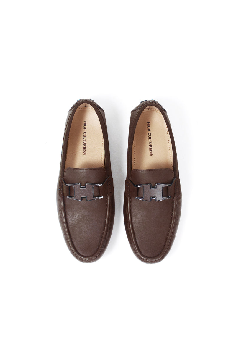 LEATHER BIT-LOAFER SHOES | BROWN - 371