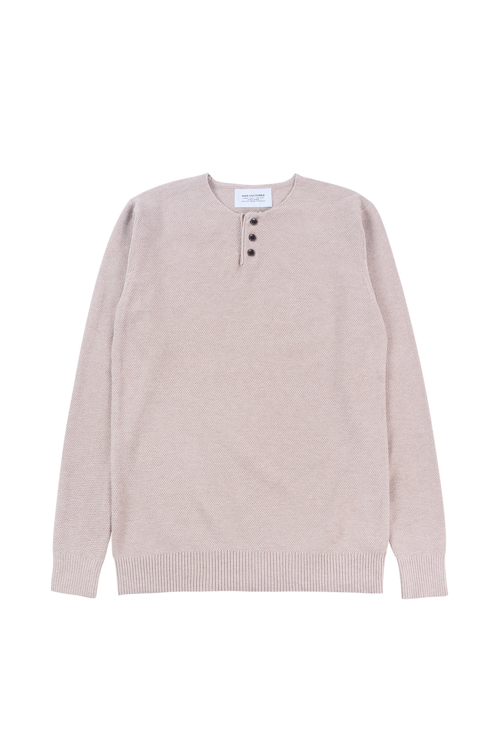 THREE-BUTTON WAFFLE KNIT SWEATER | BEIGE - 185
