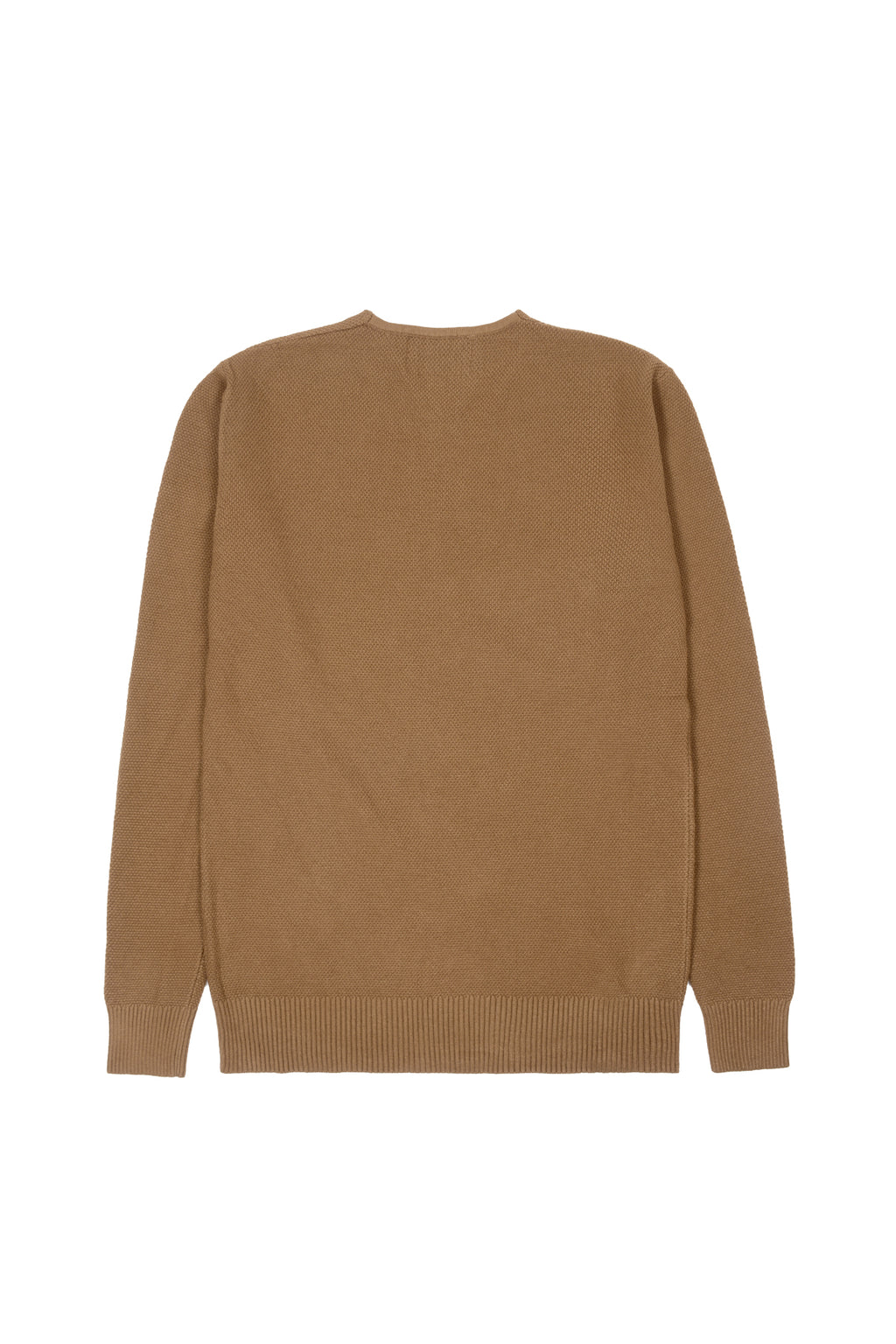 THREE-BUTTON WAFFLE KNIT SWEATER | CAMEL - 185
