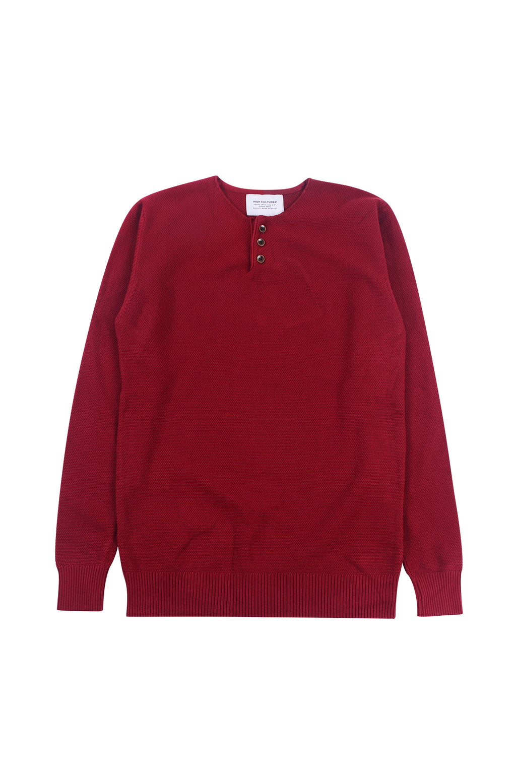 THREE-BUTTON WAFFLE KNIT SWEATER | MAROON - 185