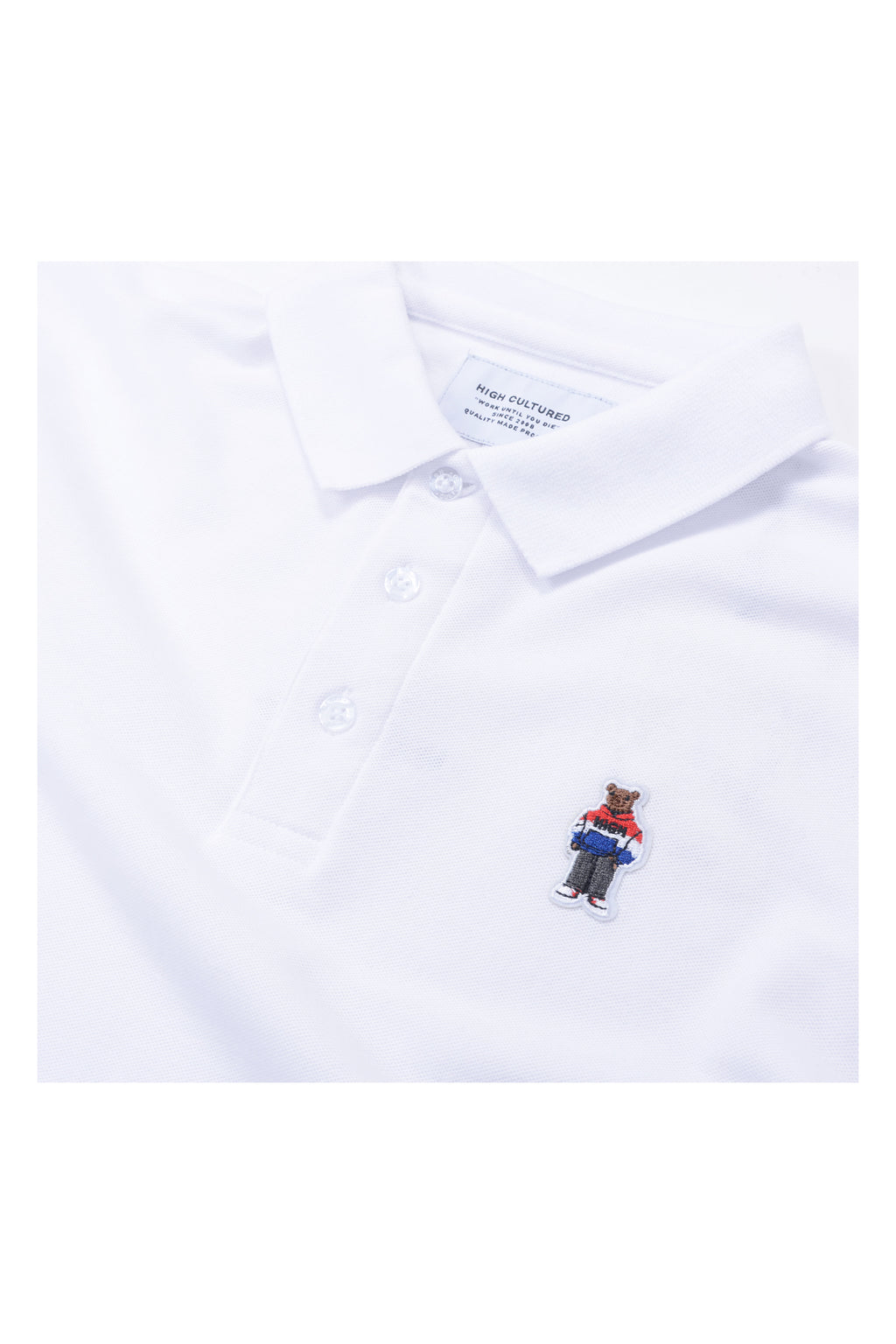 ORDINARY BEAR EMBROIDERED PATCH COLLAR TEE | WHITE - 131
