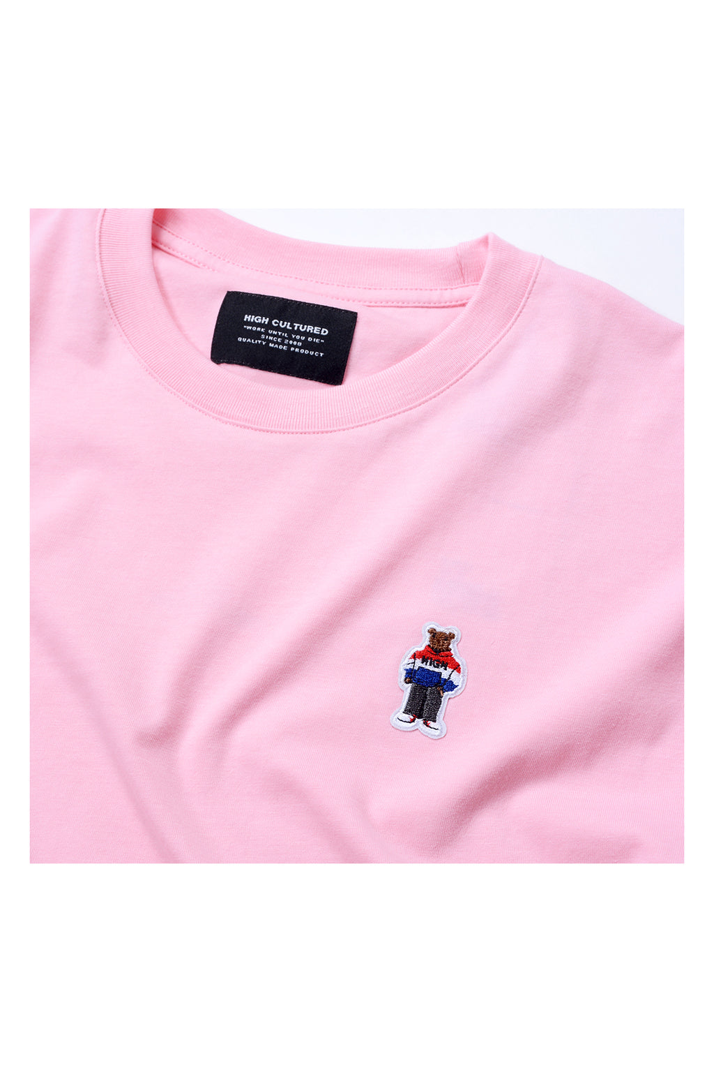 ORDINARY BEAR EMBROIDERED PATCH OVERSIZED TEE | PINK - 770