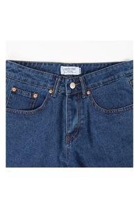 MID WASHED STRAIGHT SHORT JEANS - 34