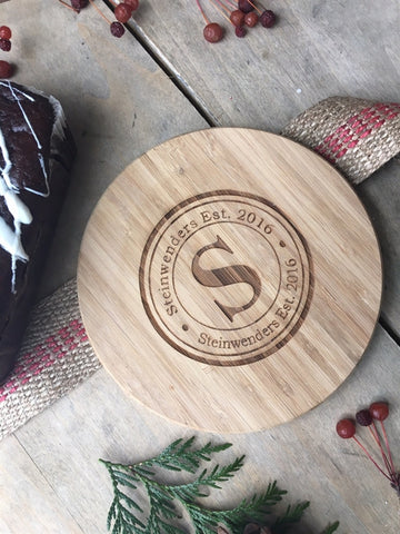 Artisan Bread & Cheese Board - Mini Circular - Monogram