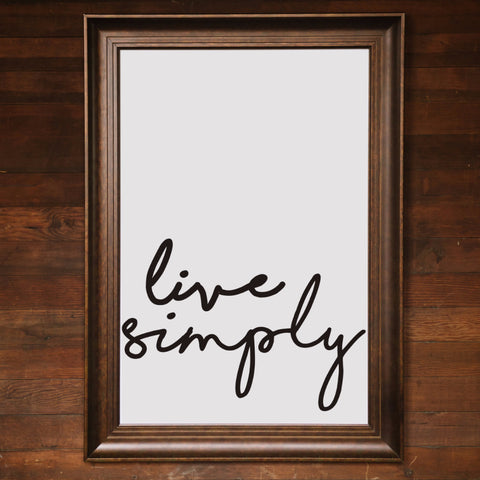"Big Wall Art 24"" X 36"" - Live Simply"