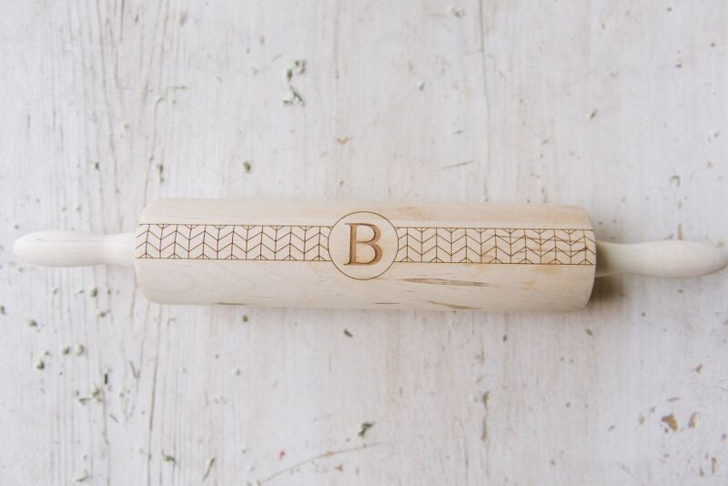 Rolling Pin - Herringbone Monogram