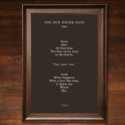 "Big Wall Art 24"" X 36"" - The Sun Never Says"