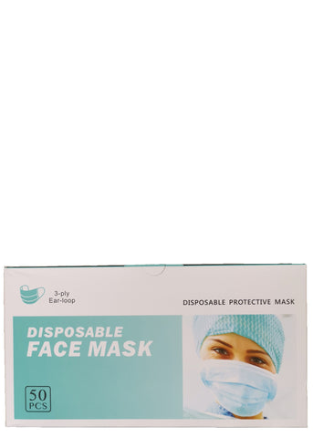 Disposable Face Mask: 3-Ply Ear Loop 50 PCS