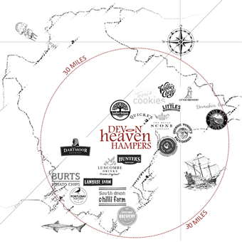 Devon Heaven Hampers Food Sourcing Map