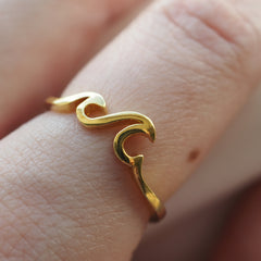 High Tides - Gold Plated Sterling Silver Wave Ring