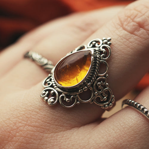 Goddess - Faux Amber & Sterling Silver Ring