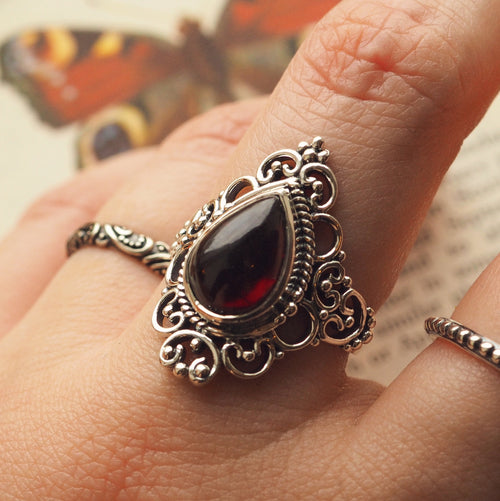 Goddess - Garnet & Sterling Silver Ring