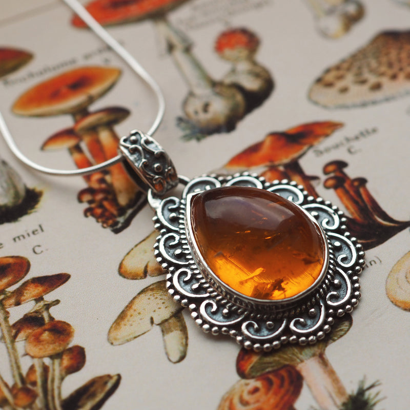 Opulence - Faux Amber & Sterling Silver Necklace