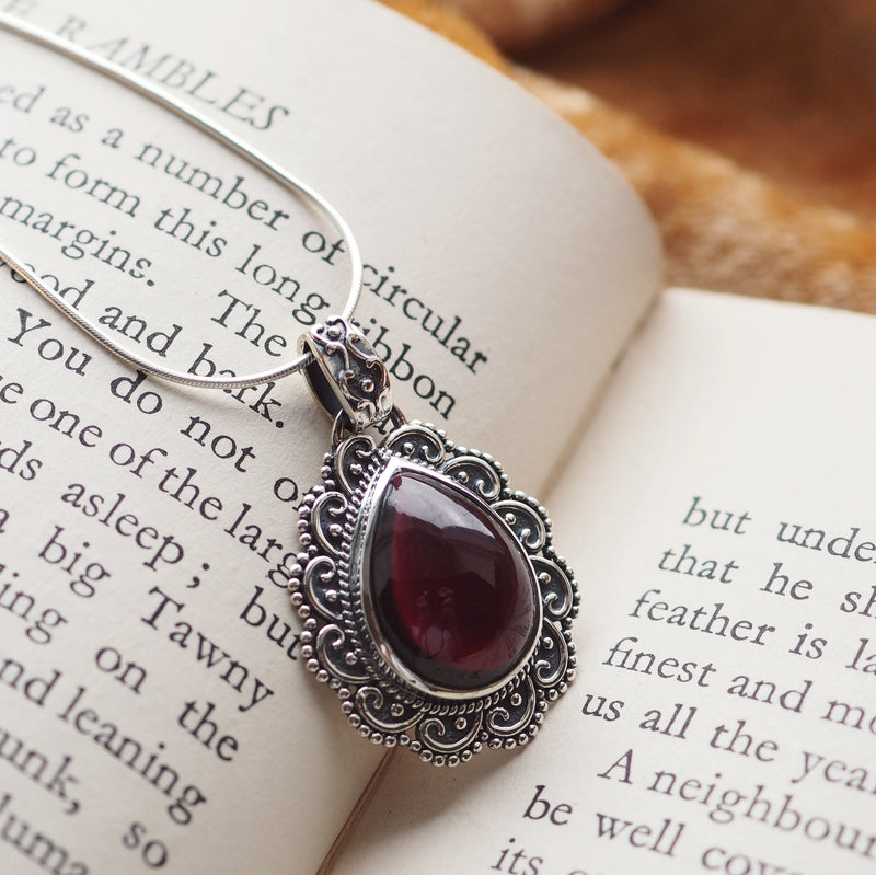 Opulence - Garnet & Sterling Silver Necklace