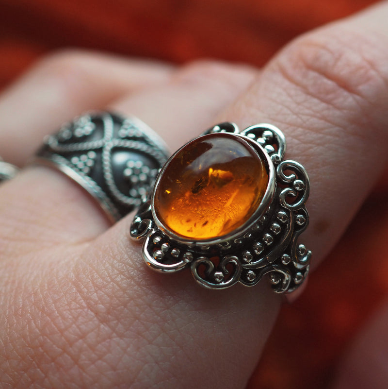 Majesty - Faux Amber & Sterling Silver Ring
