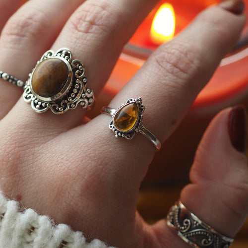 Ilaria - Faux Amber & Sterling Silver Ring