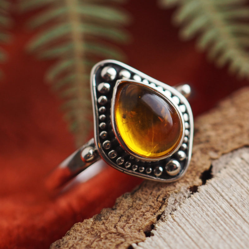 Arabella - Faux Amber & Sterling Silver Ring
