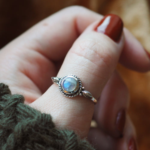 Trinket - Rainbow Moonstone & Sterling Silver Ring
