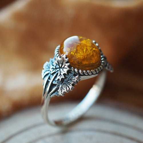 Forest Wisdom - Faux Amber & Sterling Silver Ring
