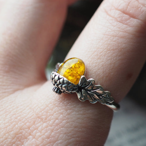 Nature Lover - Faux Amber & Sterling Silver Ring