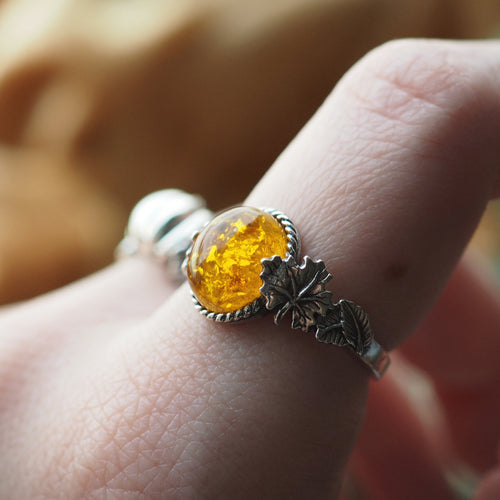 Wonders of the Woodlands - Faux Amber & Sterling Silver Ring