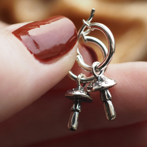 Tiny Toadstool - Sterling Silver Ear Hoops