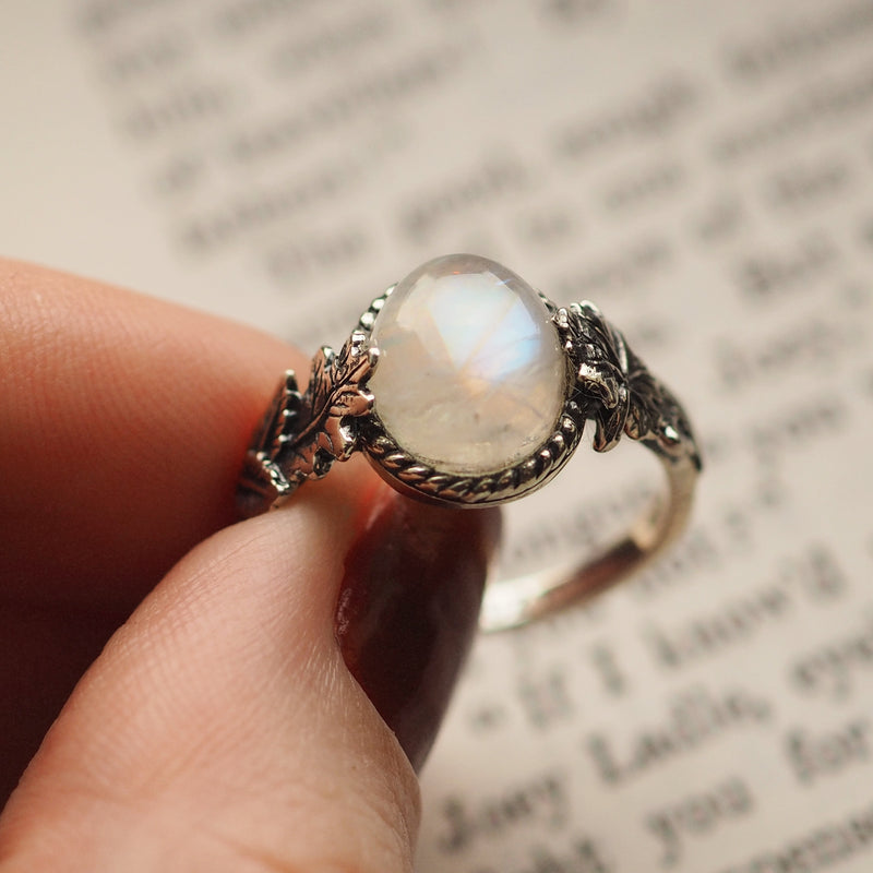 Wonders of the Woodlands - Rainbow Moonstone & Sterling Silver Ring