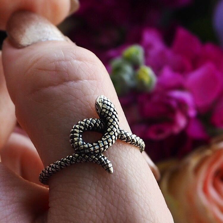 Secrets of the Serpent - Sterling Silver Snake Ring