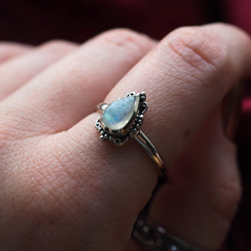 Ilaria - Rainbow Moonstone & Sterling Silver Ring