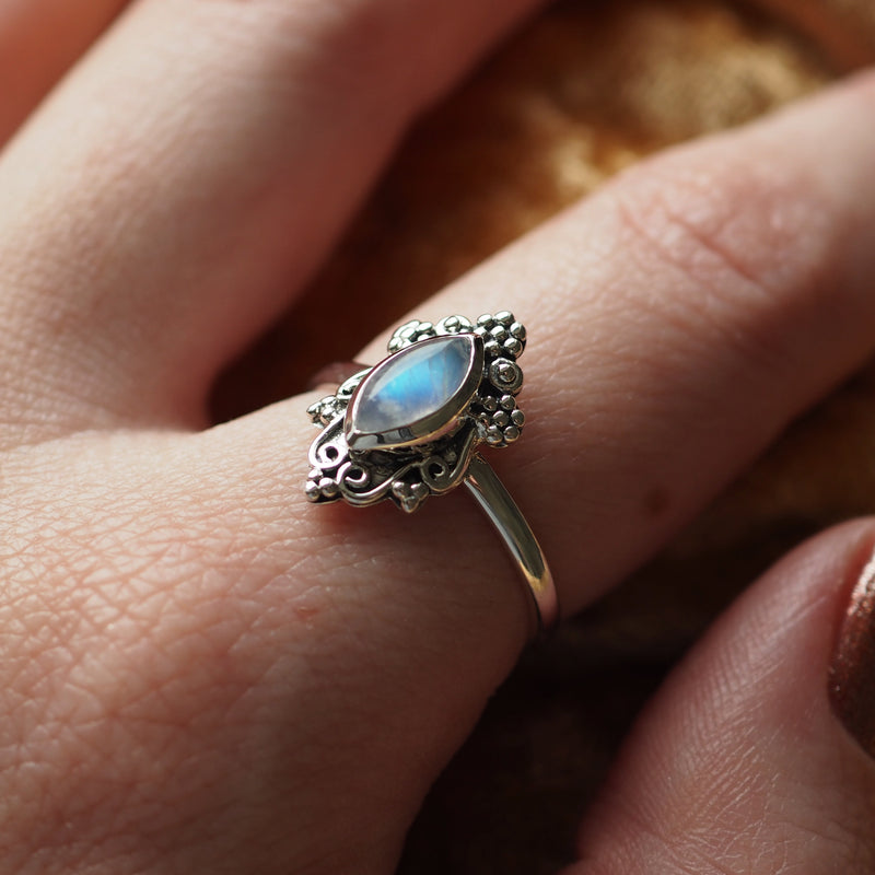 Sorcery - Rainbow Moonstone & Sterling Silver Ring