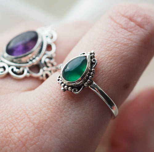 Ilaria - Green Onyx & Sterling Silver Ring