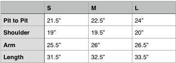 Engineered Garments Work Shirt Size Chart