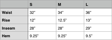 Needles Track Pant Size Chart