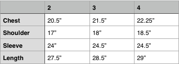 orSlow No Collar Shirt Size Chart