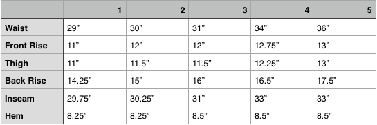 orSlow Regular Fatigue Pant Size Chart