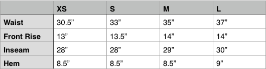 Engineered Garments FA Pant Size Chart