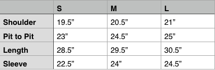 Engineered Garments Loiter Jacket Size Chart