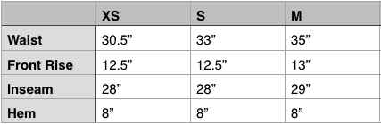 Engineered Garments Ground Pant Size Chart