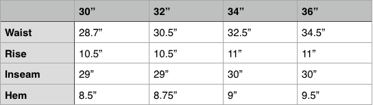 Nanamica Breath Tune Wide Easy Pant Size Chart