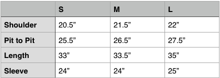 Engineered Garments Over Parka Size Chart