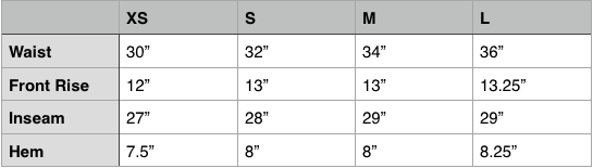 Engineered Garments Fatigue Pant Size Chart