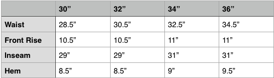 Nanamica Alpha Dry Easy Wide Pant Size Chart