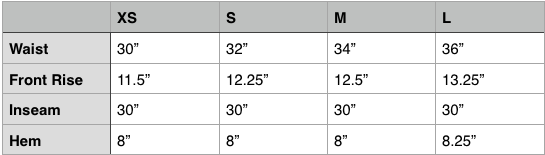 Engineered Garments Air Crew Pant SIze Chart