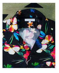 Engineered Garments Camp Shirt Black Tropical Floral Print Rayon